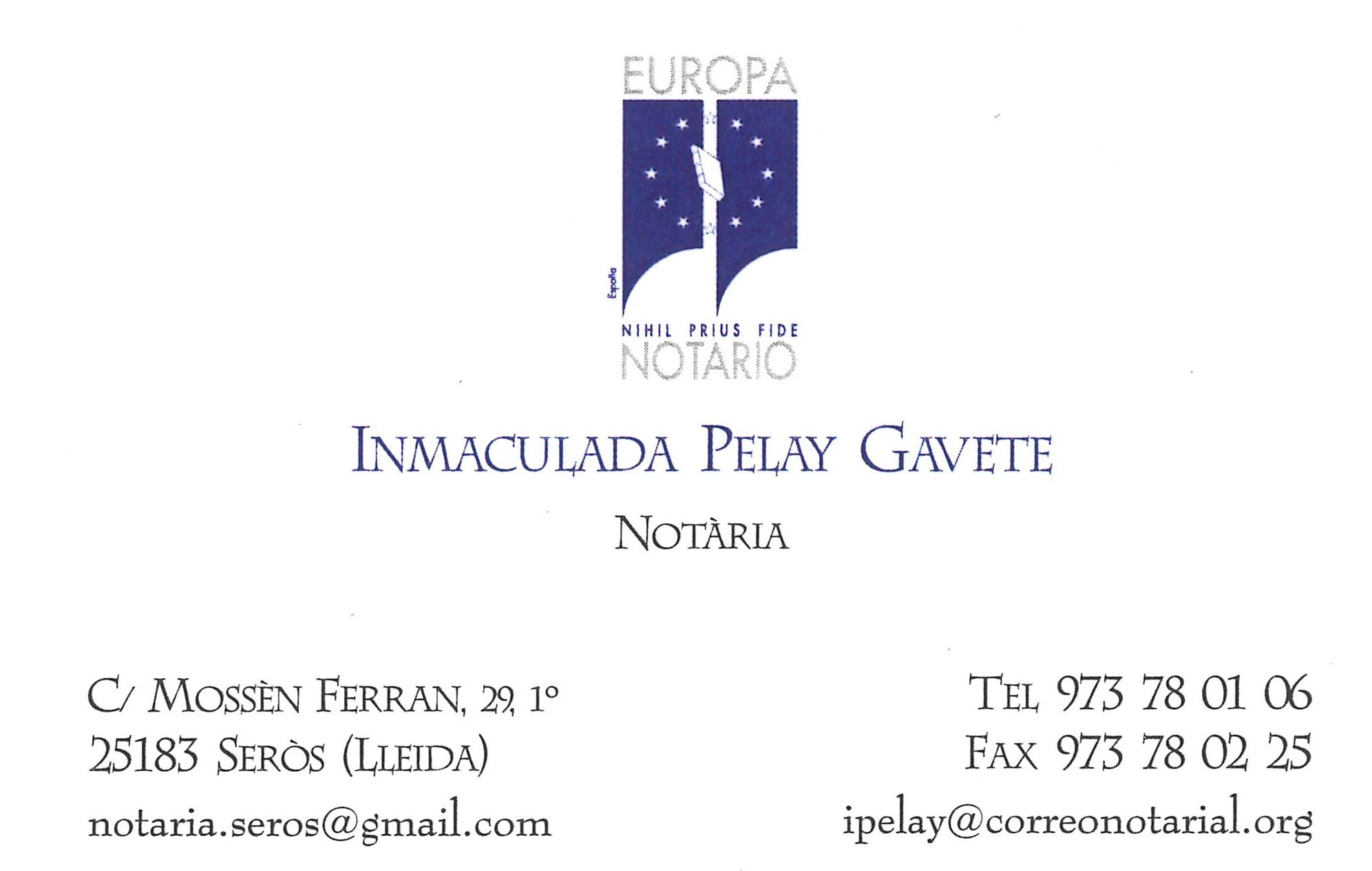 Notaria Inmaculada Pelay Gavete - Notaria de Seròs