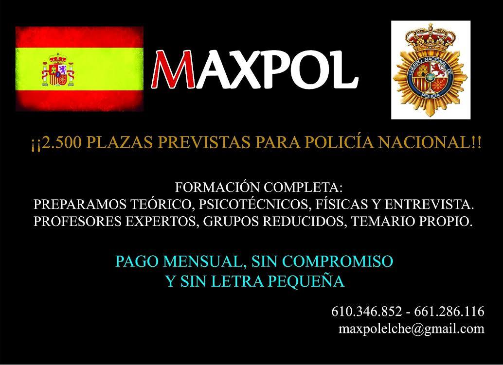 Academia Maxpol Oposición Policía Nacional ACADEMIAS DE ENSEÑANZA: OPOSICIONES