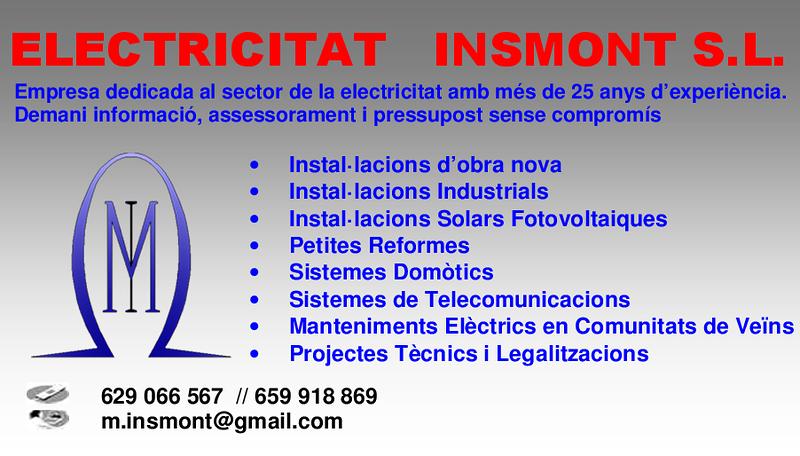 Electricidad Insmont S.L. ELECTRICIDAD: INSTALACIONES