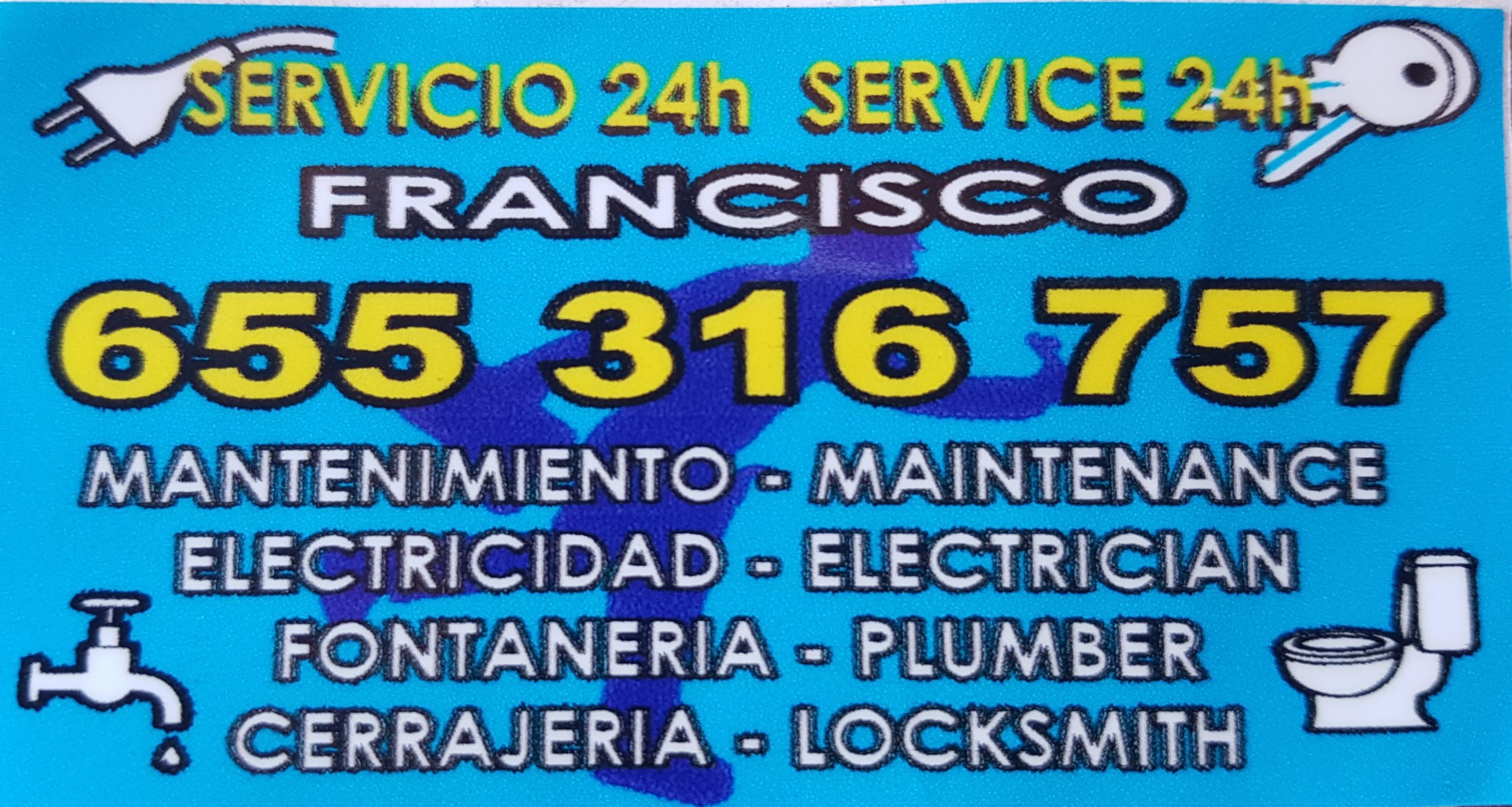 MANTENIMIENTOS ELECTRICIDAD, FONTANERÍA Y CERRAJERÍA FRANCISCO SERVICIO 24 HORAS